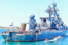The lead ship of Russian Navy Black Sea Fleet. SEVASTOPOL, CRIMEA - MAY 7, 2014: Moskva cruiser, the lead ship of Russian Navy Black Sea Fleet prepares for a Stock Photos