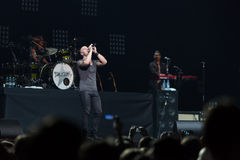 Lead singer of DAUGHTRY group sing on stage Stock Images