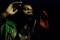 Lead singer Tobias O'Kandi Royalty Free Stock Image