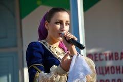 Lead vocalist of Cossack chorus close-up. Pyatigorsk, Russia. Pyatigorsk, Russia - November 4, 2017: Lead vocalist of Cossack chorus close-up. Festival in honor Stock Photos