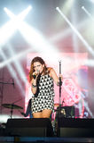 Lead woman singer royalty free stock photo