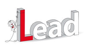 Lead. Word Lead in a 3D style with Karen the businesswoman. Ideal for a title. It illustrates the concept of the Lead Royalty Free Stock Photos