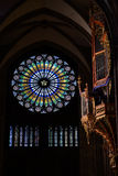 Leaded pane at Strasbourg Cathedral, France Stock Photos