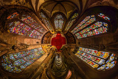 Leaded panes of Sainte George church of Selestat, little planet Royalty Free Stock Images