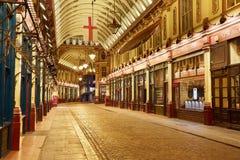 Leadenhall covered market arcade interior at night in London Royalty Free Stock Photos