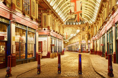 Leadenhall covered market gallery interior at night in London Stock Photos