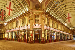 Leadenhall covered market interior at night in London Royalty Free Stock Image