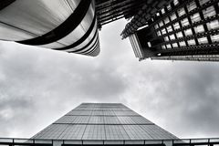 Leadenhall and Lloyds buildings in London City. Royalty Free Stock Photo