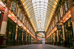 Leadenhall market covered mall city of london uk. London - Jan 17, 2009: Shops pubs and restaurants inside the covered Victorian arcade of the Leadenhall Market Royalty Free Stock Photos