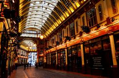 Leadenhall Market, London. Historic market in the heart of the financial district of London. It was originally constructed in the 14th century, and was used as Stock Image