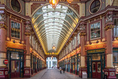 Leadenhall Market, London. Inside of the Victorian roofed Leadenhall Market in central London. A popular and historic tourist attraction. Photograph taken Stock Image