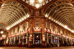 Leadenhall Market at Night. London, UK - April 26, 2016 - The central interior of Leadenhall Market at night on Gracechurch Street, one of the oldest markets in stock photo