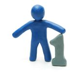Leader. 3D Leader Man of Plasticine with Symbol 1 (One) Isolated on White Background Royalty Free Stock Photography