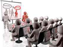 Leader. Grey and red 3d mans near the presentation stand, white reflective background Stock Images