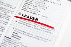 Leader. Word Leader dictionary definition marked by red Royalty Free Stock Photo
