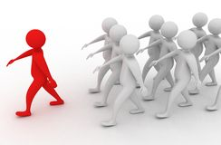 The leader. People are walking behind the red leader Royalty Free Stock Photography