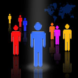 Leader 2. A figure stands in a spotlight surrounded by other figures. A map of the globe stands behind them all Vector Illustration