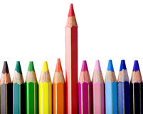 Leader Red Pencils Colors Royalty Free Stock Photography