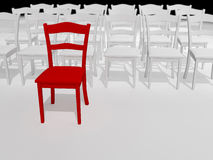 The Leader. Abstract illustration of red chair  leader   made in 3d software Royalty Free Stock Photo