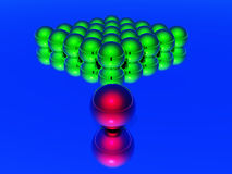 Leader 3d ball. 3d,green balls and leader red ball Stock Photography