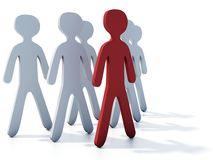Leader. Businessmans group with red leader on white Royalty Free Stock Image