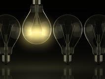 Leader. Yellow shine of light bulb, idea stock photography