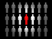 Leader. Group people and red leader stock illustration