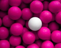 Leader. A white ball among lots of pink balls Royalty Free Stock Images