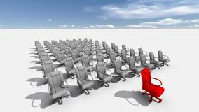 The Leader. Abstract illustration of red chair  leader   made in 3d software Stock Photos