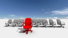 The Leader. Abstract illustration of red chair  leader   made in 3d software Stock Image
