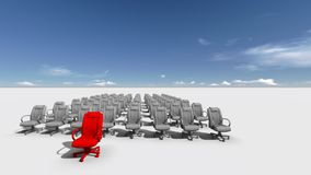 The Leader. Abstract illustration of red chair  leader   made in 3d software Stock Photography