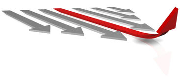 Leader arrow. Arrow symbol of leadership  on white Royalty Free Stock Photography