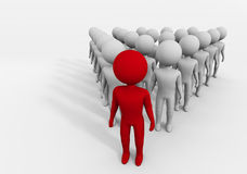 The leader. Artistic representation of a leader, puppet, red, highlighted in front of his men, Character leader Stock Photo