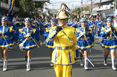 Leader of the band. Picture of a parade during a town annual fiesta in Silang Cavite Philippines. Many tourists watch this with excitement because of the intense stock photo