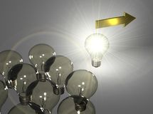 Leader Bulb. There is a shiny bulb leading the other bulbs Stock Photos