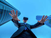 The leader of business in cyberspace and virtual reality. Royalty Free Stock Image