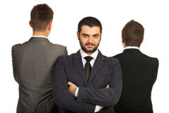 Leader business man. Leader business men standing in front of his team isolated on white background Stock Photos