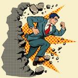 Leader businessman breaks a wall, destroys stereotypes. Moving forward, personal development. Pop art retro vector illustration vintage kitsch royalty free illustration