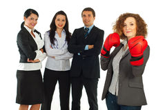 Leader businesswoman and her team Stock Photos