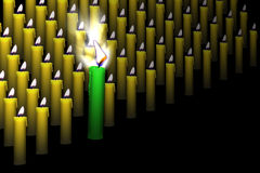 Leader among candles. Green leader among small looking each other candles stock illustration