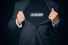 Leader and CEO. Confident leader, CEO and leadership concept. Boastful manager with opened suit and text leader instead body Royalty Free Stock Images