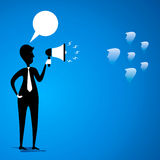 Leader communicate to team. Leader with loud speaker to communicate to team member concept vector Stock Image
