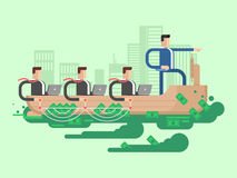 Leader company business ship. People team corporate, businessman teamwork, vector illustration Royalty Free Stock Images