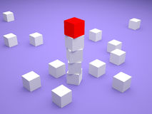 Leader Concept. 3d rendering of a balanced composition of white cubes and a red one on top Stock Photography
