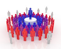 Leader Concept. Circles of people around one idea, one team one leader Stock Photography