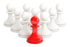 Leader concept from chess pawns, 3D rendering. Isolated on white background Royalty Free Illustration