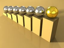 Leader concept with one gold ball. 3d royalty free illustration