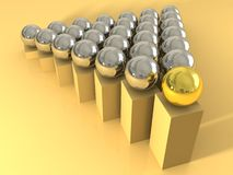 Leader concept with one gold ball. And silver others Royalty Free Stock Image
