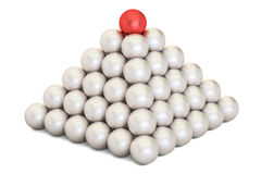 Leader concept, pyramid from metal balls. 3D rendering. Pyramid of metal balls on white background Royalty Free Illustration
