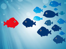 Leader concept. Red fish leading group - leader concept Stock Photos